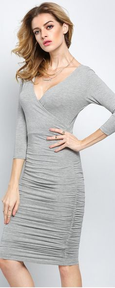 Grey Long Sleeve Deep V Neck Ruched Dress, This dress features slim silhouette with deep v neck, ruched bodycon style, perfect outfits for work!