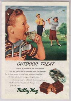 Milky Way candy bar 40s old PRINT AD golfers golf boy caddy vintage advertisement 1948