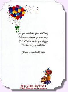 Birthday Card Verse Greeting Sentiments Messages Quotes