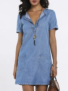 SPU: Process: Paneled,Wrap Material: Denim Pattern Type: Solid Sleeve T… 2019 Summer Dresses With Sleeves, Blue Summer Dresses, Half Sleeve Dresses, Summer Dresses For Women, Vintage Summer Dresses, Short Dresses, Dress Summer, Dress Vintage, Traje Casual