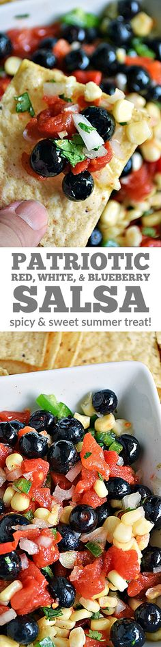 Red, White, & Blueberry Salsa | by Life Tastes Good is the perfect way to celebrate America on the 4th of July, Memorial Day, or even cheer on Team USA. Show your colors with this red, white, & blue salsa appetizer that is perfect for summer! #LTGrecipes