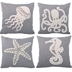 Shop for Serenta Sea World 4-piece Embroidery Throw Pillow Set and more for everyday discount prices at Overstock.com - Your Online Home Decor Store!
