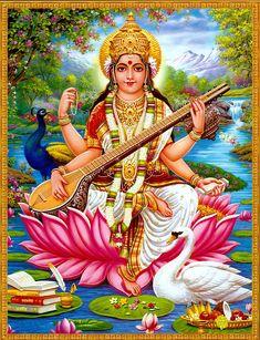 Goddess Saraswati - Hindu Posters (Reprint on Paper - Unframed)