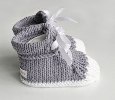 Knitting Patterns Booties Knitted booties, Knitted sneakers for baby is a unique product by … Booties Crochet, Crochet Baby Shoes, Baby Boots, Crochet Baby Booties, Crochet Boot Socks, Crochet Slippers, Knitting Socks, Baby Knitting Patterns, Knitting For Kids
