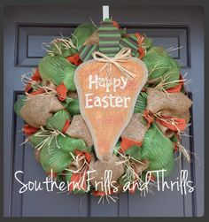 Easter Wreath Burlap Easter Wreath Easter Deco by SouthernThrills, $70.00