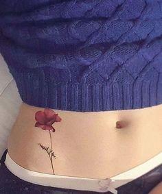 Hot Poppy Flower Watercolor Tattoo Design for Girls