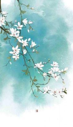 Ideas Flowers Design Painting Inspiration in 2020 Flower Backgrounds, Wallpaper Backgrounds, Watercolor Flowers, Watercolor Paintings, Painting Flowers, Afrique Art, Art Asiatique, Mural Art, Chinese Art