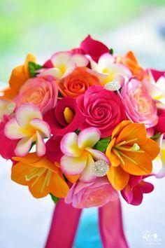 Tropical bridal bouquet - oranges & pinks
