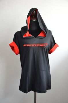stark industries on black and red Hoodie Cotton by SummerIsComing, $35.00