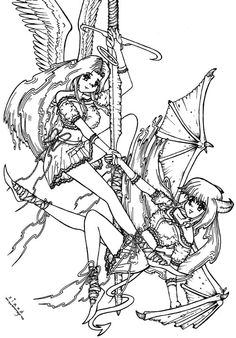 Anime You Draw Fifth Thread Read 1st Post Angel Coloring Pages Angels And Demons Anime Art Tutorial