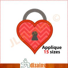 Lock applique design. Machine embroidery design - INSTANT DOWNLOAD - 15 sizes. Door lock applique. Lock applique . Heart lock embroidery by JLdizains on Etsy or www.alldayembroidery.com