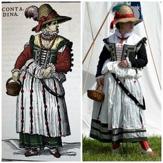 An Outfit in the Style of the Venetian Mainland, 1590, based on Cesare Vecellio's 'Peasant Women in the Region Surrounding Venice', created by Morgan Donner