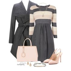 Pink and Grey Phase Eight, created by imclaudia-1 on Polyvore