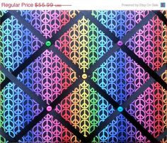 FATHERS DAY SALE Rainbow Peace Sign Print French Memo Board  with Ribbon 20 x 24 -  Bulletin Board - Your choice of ribbon color