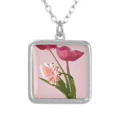 Pink Tulips Art Bouquet Pendants