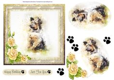 This lovely dog is sure to appeal to all dog lovers. Wrapped in a gold frame this beauty is waiting to go home with you. Decoupage the layers and flowers. Paws available if you want to add them.