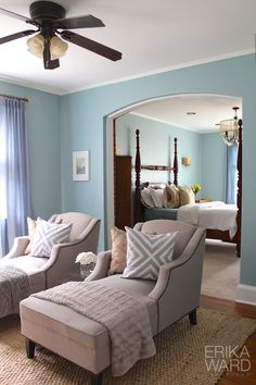 OMG THIS SITTING ROOM off the Master bedroom. (chaise loungers from HomeGoods? Couldn't confirm with website.) - just the idea of a sitting room off the master bedroom is great! Dream Bedroom, Home Bedroom, Bedroom Decor, Master Bedroom, Style At Home, Bedroom With Sitting Area, Bungalow Interiors, Interior Design Advice, My Living Room