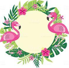 Illustration about Tropical frame with flamingo - vector illustration, epsn. Illustration of hibiscus, flora, beautiful - 95000623 Flamingo Party, Flamingo Birthday, Tropical Frames, Flamingo Vector, Flamingo Wallpaper, Fleurs Diy, Tropical Party, Flower Frame, Pink Flamingos
