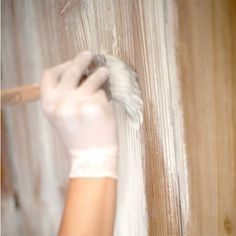 How to whitewash knotty pine walls: sand first, then 6 parts paint to 4 parts water. Follow with acrylic sealer
