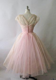 50's Prom Dress // Vintage 1950's White Lace Chiffon Full Wedding ...