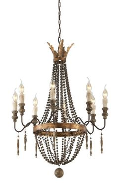 Troy Lighting F3535 Delacroix 8 Light Candle-Style Chandelier French Bronze and Aged Wood with Distressed Gold Leaf Indoor Lighting Chandeliers