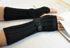 Arm Warmer Fingerless Glove Black