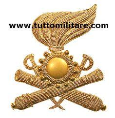 Fregio metallico dorato per berretto dell'Artiglieria a Cavallo
