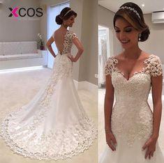 7a4de7a0f21 XCOS Vintage Mermaid Lace Wedding Dresses 2018 Robe De Mariee Backless Bridal  Gowns Handmade Sexy Wedding