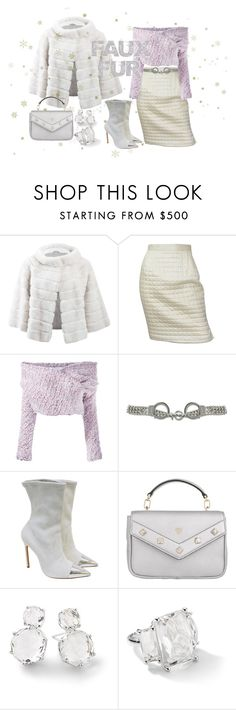 """SNOW QUEEN"" by mix-max ❤ liked on Polyvore featuring Yves Salomon, Chanel, Daizy Shely, Moschino, Manolo Blahnik, MCM and Ippolita"