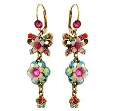 Unique Michal Negrin Crystal Flower Hook Earrings from the Michal Negrin Classic collection. Michal Negrin earrings in this collection are available in a variety of colors and combine Swarovski crystals, glass beads, lace, pearls, cameos, and metal components.