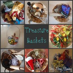 Lots of ideas for treasure baskets for babies and toddlers