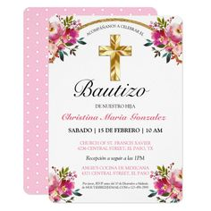 Shop Elegante Tinta Floral Bautizo Cruz De Oro Invitation created by ItsaBaby. Personalize it with photos & text or purchase as is! Vintage Wedding Cards, Vintage Wedding Invitations, Zazzle Invitations, Party Invitations, Watercolor Flower Wreath, Floral Watercolor, Baby Girl Baptism, Christening Invitations, Malva