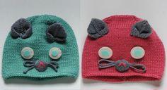 Ce bonnet à tricoter en forme de chat a tout pour plaire. Tailles : 3 (6) 12 mois. ...