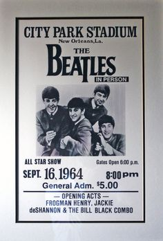 Poster for The Beatles' concert at City Park Stadium, New Orleans, 16 September 1964.