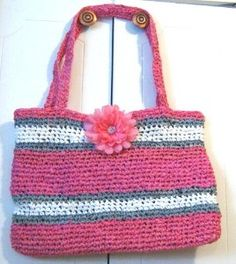 This bag is crocheted with plastic yarn made from grocery bags