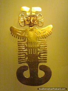 Fish-like figure of gold at the gold museum Museo del Oro in Bogota. Photo from Colombia. See photos from South America. Ancient Artefacts, Ancient Civilizations, Inca, Art Nouveau Jewelry, Ancient Jewelry, Character Illustration, South America, Central America, Archaeology