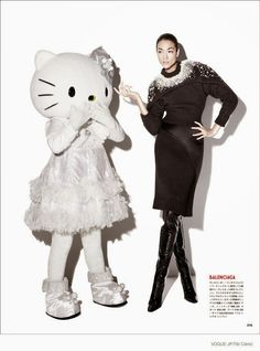"""""""The Hello Kitty in My Closet"""": Ai Tominaga and a Giant Hello Kitty by Tibi Clenci for Vogue Japan December 2014 (Advertorial)"""