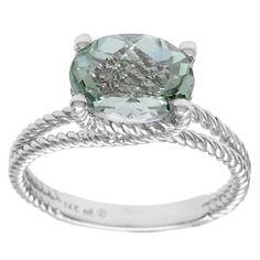14k White Gold Green Oval-cut Amethyst Ring (Size-6), Women's, Size: 6