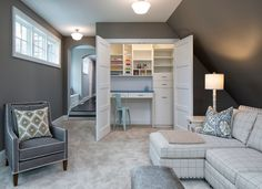 The bonus room features a closet craft room. I think this is a brilliant idea! The wall color is Benjamin Moore 1476 Graystone