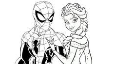 Enjoy this free Disney Spiderman vs Elsa coloring page and have fun! Coloring Spiderman vs Elsa - Spider man and Frozen Elsa Coloring on Coloring-ForKids