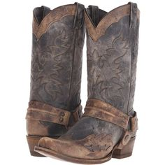Stetson Sundance Kid Outlaw (Washed Crater Black) Cowboy Boots ($315) ❤  liked