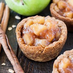 Your favourite chewy oatmeal cookies come together with homemade apple pie filling in these bite-sized Apple Crisp Cookie Cups.