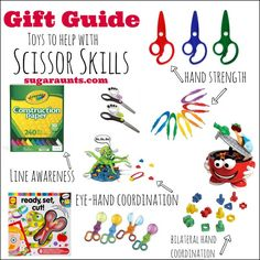 Gift Guide for toys and games for kids who are working on scissor skills These would be AWESOME non-candy gifts for the Easter Basket!!