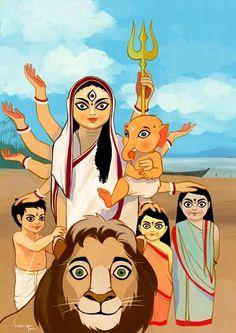 Durga puja by Swaroop Roy Durga Maa, Durga Goddess, Shiva Shakti, Goddess Art, Durga Painting, Madhubani Painting, Om Namah Shivaya, Durga Puja Wallpaper, Durga Puja Kolkata