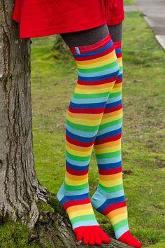 Sock Dreams - ToeToe Rainbow OTK - Unique Colorful Socks