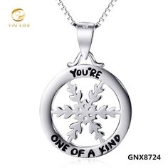 "t snowflake charm pendant necklace fashion 925 sterling silver ""you are one of a kind"" necklace gnx8724"