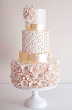 wedding cake, pink, gold, ruffled