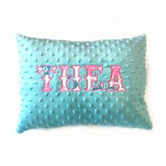 Turquoise Minky Dot Appliqued Pillow