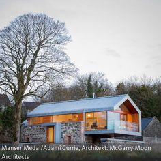 modern vernacular architecture, would fit into the Tennessee landscape. Modern barn by McGarry-Moon Architects in N. Ireland, blends the original stone barn with modern features of metal roof, glass railings-a beautiful blend of old & new. Modern Barn, Modern Farmhouse, Modern Cottage, Rustic Modern, Residential Architecture, Interior Architecture, Contemporary Architecture, Contemporary Style, Building Architecture