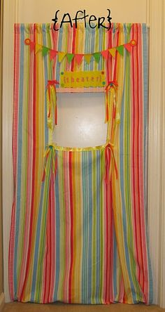 DIY doorway puppet theater (would be great for the closet door in her room)
